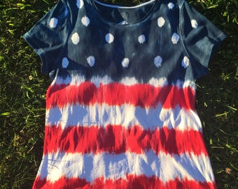 Red White and Blue American Flag Custom Tie-Dye Shirt