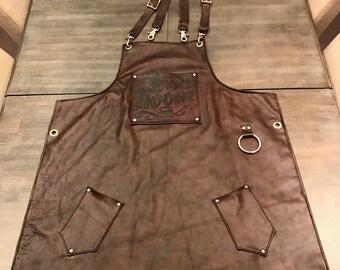 Custom made leather apron