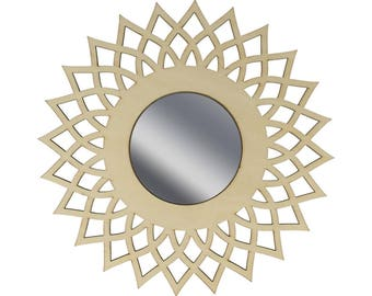 Mirror Lacy 14002454 wooden Sun - wooden stand - wood frame-