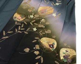 New Item K030306 Japanese Dark blue Tukesage Kimono Vintage