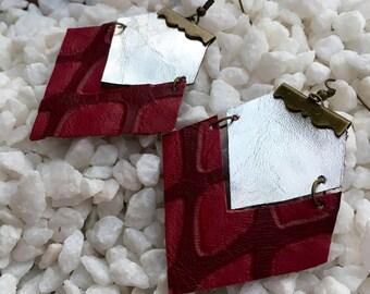 Handmade Embossed Leather Earrings