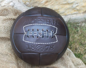 MANCHESTER  - Vintage Leather Soccer Ball 1930's -- 100% leather