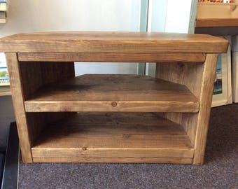Hand Made Solid Wood Corner Tv Stand - solid wood Rustic