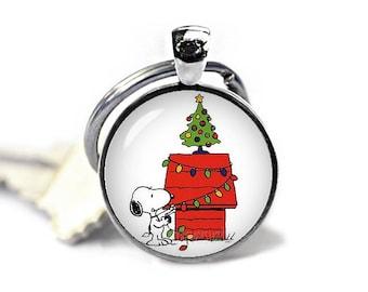 Snoopy Keychain Snoopy Christmas Key Ring Snoopy KeyFob Peanuts Fandom Jewelry Cosplay Fangirl Fanboy