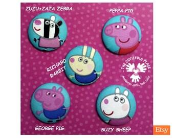 Peppa Pig Button, Badge, Ponytail HairTie   George Pig, Richard Rabbit, Suzy Sheep, Zebra   Original TM   Pin, Party favor, Goody bag filler