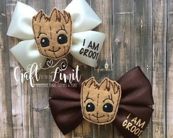 Groot Bow / I am Groot Hair Bow / GOTG Bow / Guardians of the Galaxy Birthday