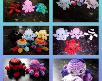 Handmade crochet octopus keyrings