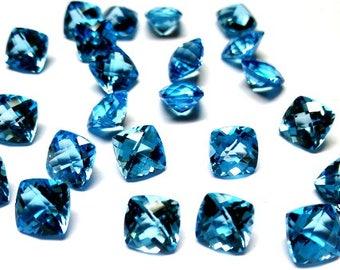 2 pieces (Match Pair) 7mm Swiss Blue Topaz Faceted Cushion Checker Faceted, Swiss blue Topaz Cushion Faceted Checker Cut, Blue Topaz Faceted