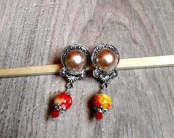 "Earring posts Victorian spirit, cabochon, ""Lottie"", marbled, metal beads, silver, earrings, romantic,"