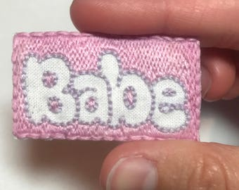 Babe hand embroidered iron on patch