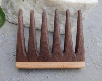 Modern Wooden Comb, small handle, Walnut, Maple, Curly hair, beard comb, gifts for her, gifts for him.