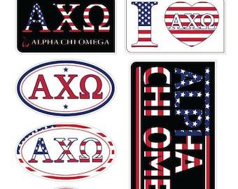 "ALPHA CHI OMEGA ""America"" Sticker Sheet"