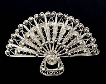 Flamenco Brooch Abanico Filigrana, Sterling Silver Brooch, Filigree Brooch, Fan Brooch, Flamenco Accessories, Spain, Spanish, Gift Idea