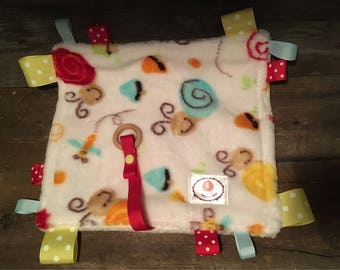 Doudou labels with attached minky pacifier or teething toy comes with wooden snail Dragonfly mushroom teething toy