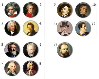 Famous Composers magnets or famous composers pins, refrigerator magnets, fridge magnets, office magnets