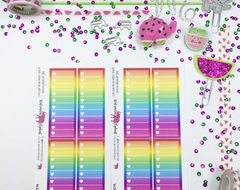 Small and medium horizontal gradient rainbow side bars with hearts, stickers for the Classic Happy Planner, Item # W372
