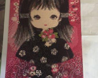 Painting Painting girl Kimono black 3D rhinestone shiny diamond handmade