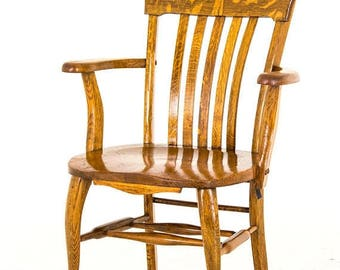 vintage wood bankers chair by bankers chair etsy