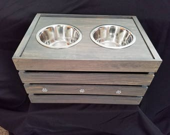 Large Dog Feeder with Storage In weathered grey