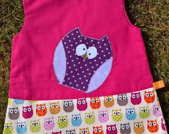 Dress baby 3 months pink with cute owls