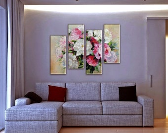Large Wall Art, Flower Painting, Rose Art, Large Wall decor , Art Print on Canvas, Canvas Art, Interior Art, Living Room Wall Art