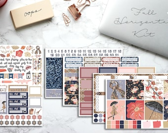 Horizontal Weekly Kit, Erin Condren Planner Stickers,  Happy Planner, Recollections, No White Space, Autumn, Fall, Rainy Day, Fall Leaves