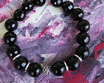 Black agate and Sterling Silver beaded bracelet