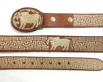 Unique 70s Buffalo Leather Snap Belt 38 - 40 / Vintage Rare Boho Belt / Hand-Tooled Bull Head Buckle Taurus Star Sign Belt 96cm 101 cm