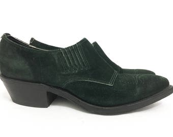 Green Suede Leather Cowgirl Ankle Boots Women / Nocona Vintage 80s Ankle Booties / Green Shoes For Women Size 7.5 38