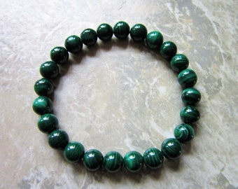 Malachite Bracelet ~ Natural Crystal jewelry ~ Beaded Stretch Bracelet ~ Transformation & Positive Change