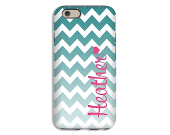 Monogram iPhone 7 case, ombre chevron iPhone 7 Plus case, phone cases for girls, monogram phone covers, 3D wrap around, custom colors