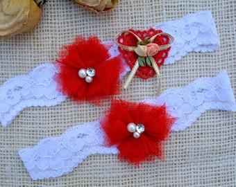 Red Garter, Heart Garter, White Garter, Wedding Garter Set, Bridal Garter, Red Garter Set, Toss Garter, Flower, Keepsake Garter, Bridal Gift