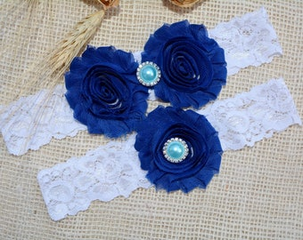 Royal Blue Garter, Pearl Cristal Lace Wedding Garter Set, Something Blue Garter Set, Sapphire Blue Bridal Garter, Cobalt Blue Flower Garter