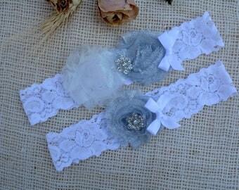 Grey Garter Glitter, White Silver Garter, Garter Set, Bridal Garter, Grey Garter Lace, Toss Garter Silver, Glitter Silver, Keep Garter Grey