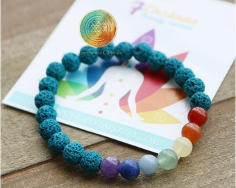 NEW!Chakra bracelet,6mm Chakra stones, Chakra Jewelry, Chakra crystals, Lake Blue-Green Lava Rock, 7 Chakras Bracelet, Reiki Infused