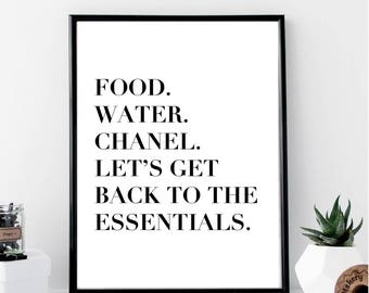 Food, Water, Chanel, Let's Get Back to the Basics Print // Minimal // Fashion // Typography // Scandinavian // Quote // Office // Gift