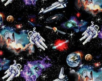 Elizabeth's Studio In Space Astronauts Solar System Planets Galaxy 100% cotton fabric by the yard  (ES229)