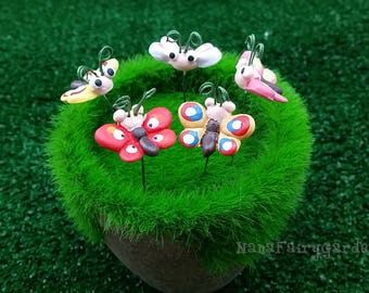 Butterfly figurines ceramic Miniature Dollhouse Fairy Garden 5 Pcs/Set