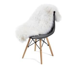 Large Sheepskin Orginal from Europe Rug Single Pelt Ivory White Fur, Approx. 2,5 ft x 4ft Sheep pelt rug Shipping from California