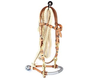 Gold & Silver Leather Rawhide Bosal Lead Western Horse Trail Cowboy Working Ranch Bridle Headstall Tack