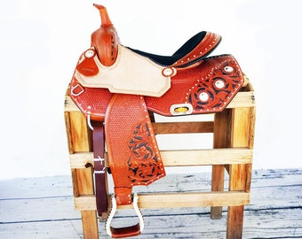 "15"" Rough Out Basket & Floral Tooled Handmade Western Horse Pleasure Trail leather Saddle"