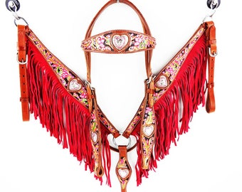 Pink Fringe Silver Heart Headstall Engraved Leather Western Horse Trail Bridle Breast Collar Plate Barrel Racer Cowgirl Bling Tack Set