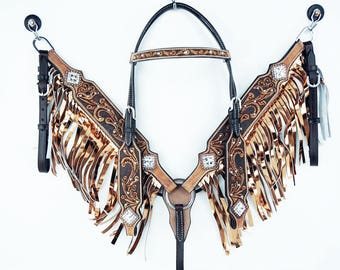 Western Silver Bling  Horse Bridle Fringe Leather Headstall Breast Collar Tack Set