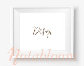 Contemporary White Landscape Frame Mock-Up / Styled Stock / Stock Photography / Art Stock / Art Mockup / Mock Up