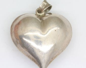Big, heart pendant/ Sterling silver, vintage/ puffy heart pendant/ gift for her/ valentine gift/ anniversary gift/ silver heart pendant/