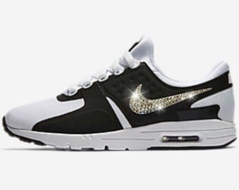 Swarovski Nike Shoes Women's Black Nike Air Max Zero Shoes Customized with Swarovski Crystal Rhinestones
