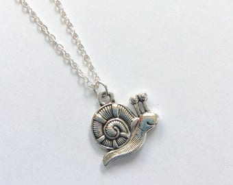 Cute snail necklace, Tibetan silver snail charm on silver plated chain, novelty jewellery, gift for gardener
