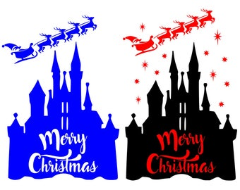 SVG DXF File for Disney Castle with Santa & Reindeer