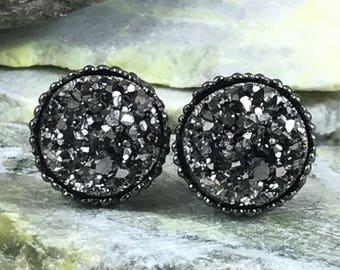 Gunmetal Druzy Earrings - Bridesmaid Gift - Druzy - Stud Earrings - Gunmetal - Earrings - Gunmetal Jewelry - Druzy Jewelry - Drusy Earrings