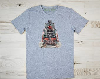 T-shirt for Men, T-shirt Locomotif, T-shirt Train, T-shirt Railway, Tshirt Steam, Tee Car, Watercolor Print, Gift for Him, Family Look, Car